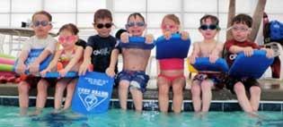 swimmers kickboard fun