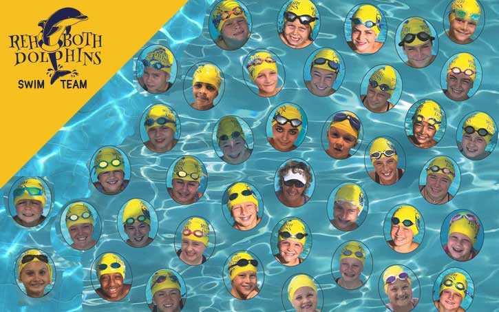 all members of rehoboth dolphins swim team in water